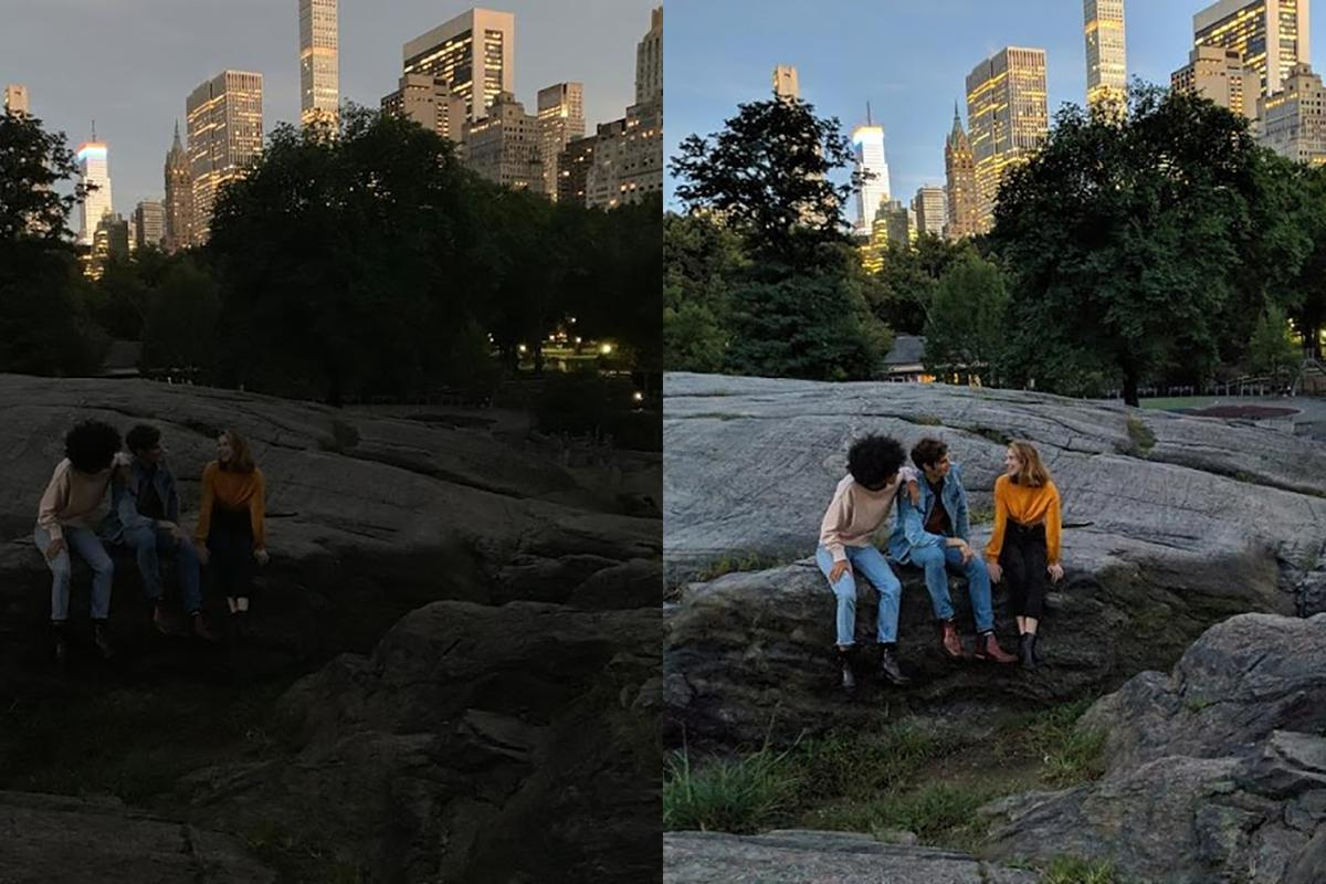 Google's own Night Sight comparison – the iPhone XS on the left and the Pixel 3 on the right