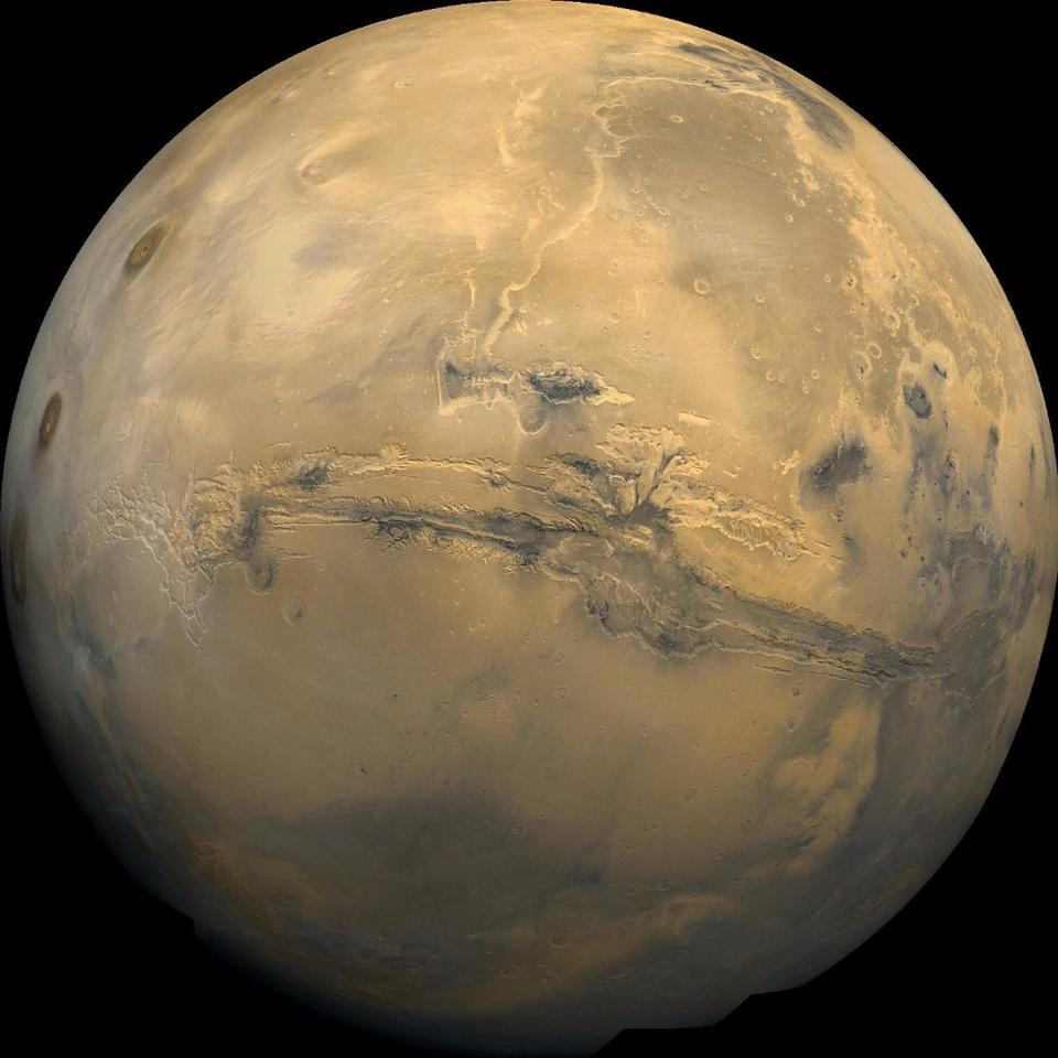 Mosaic of Mars created from over 100 images obtained by the Viking Orbiters in the 1970s