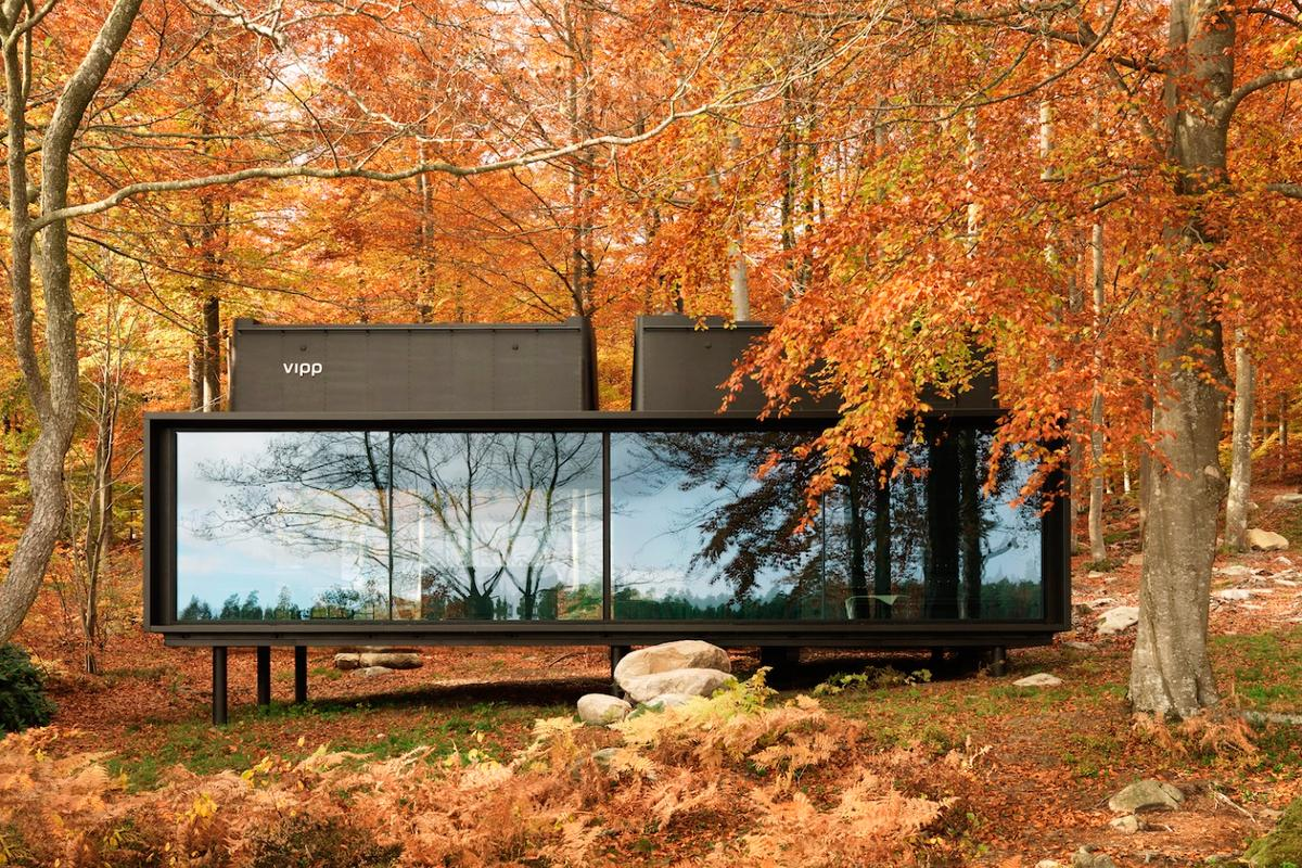 The Vipp Shelter pictured is situated in an isolated area in a Swedish forest