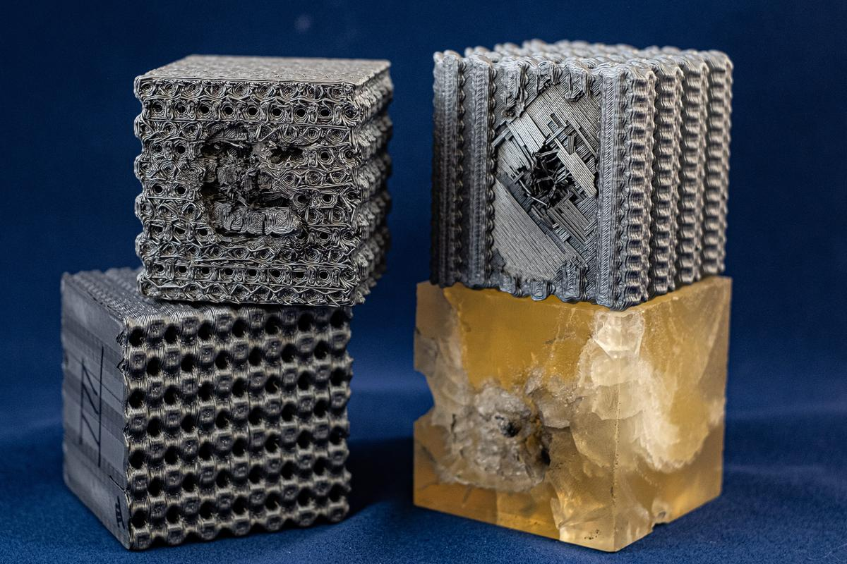 Rice University engineers blasted their lattice structures with bullets traveling at 5.8 km (3.6 mi) per second, with the cubes proving 10 times more effective at absorbing the impact than solid cubes made from the same polymer material
