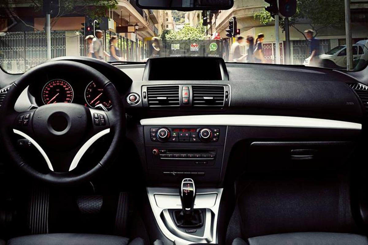 HeadsUP! displays navigation and other smart phone applications on the driver's windshield