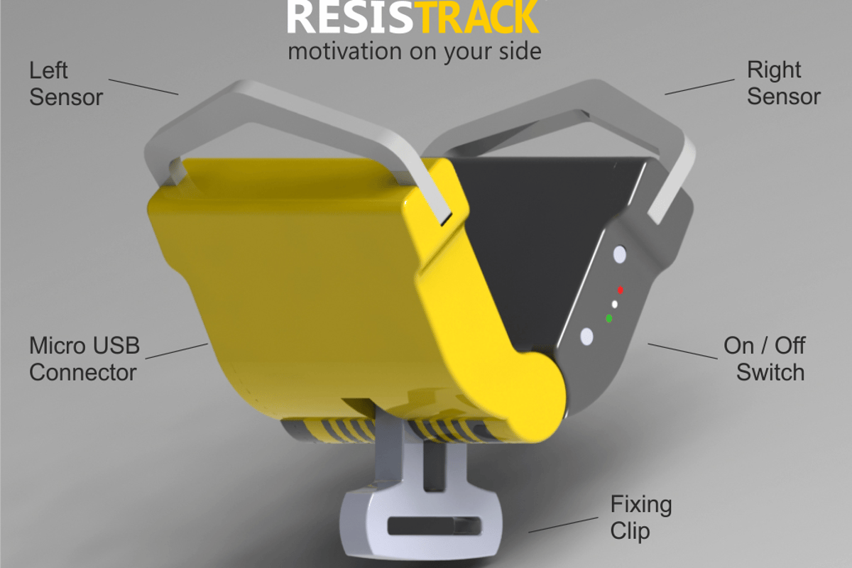 ResisTrack attaches to fitness equipment to measure muscle output