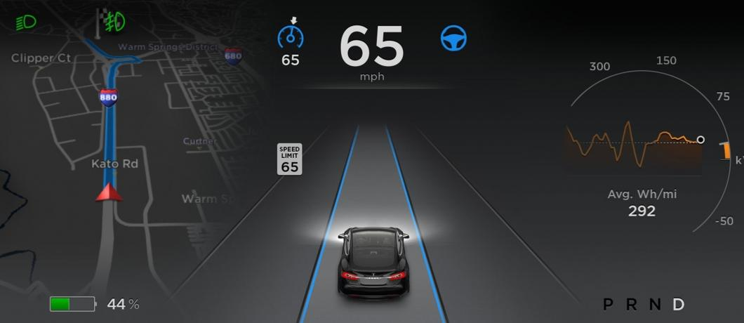 This snapshot of Tesla's newly updated user interface hints at the new autonomous driving features that went live earlier this week in all Model S vehicles produced in the last year