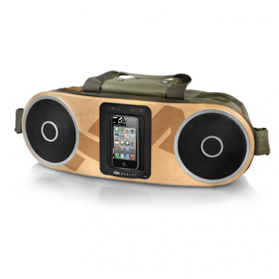 The Bag of Rhythm can output 32 watts of sonic power through two 1-inch tweeters and two 4.5-inch woofers