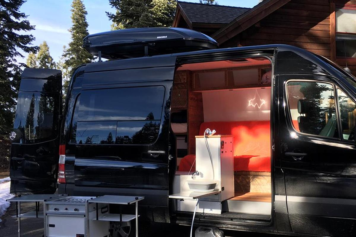 With its removable stove module and 6-foot faucet, the TK Van kitchen works seamlessly inside or out
