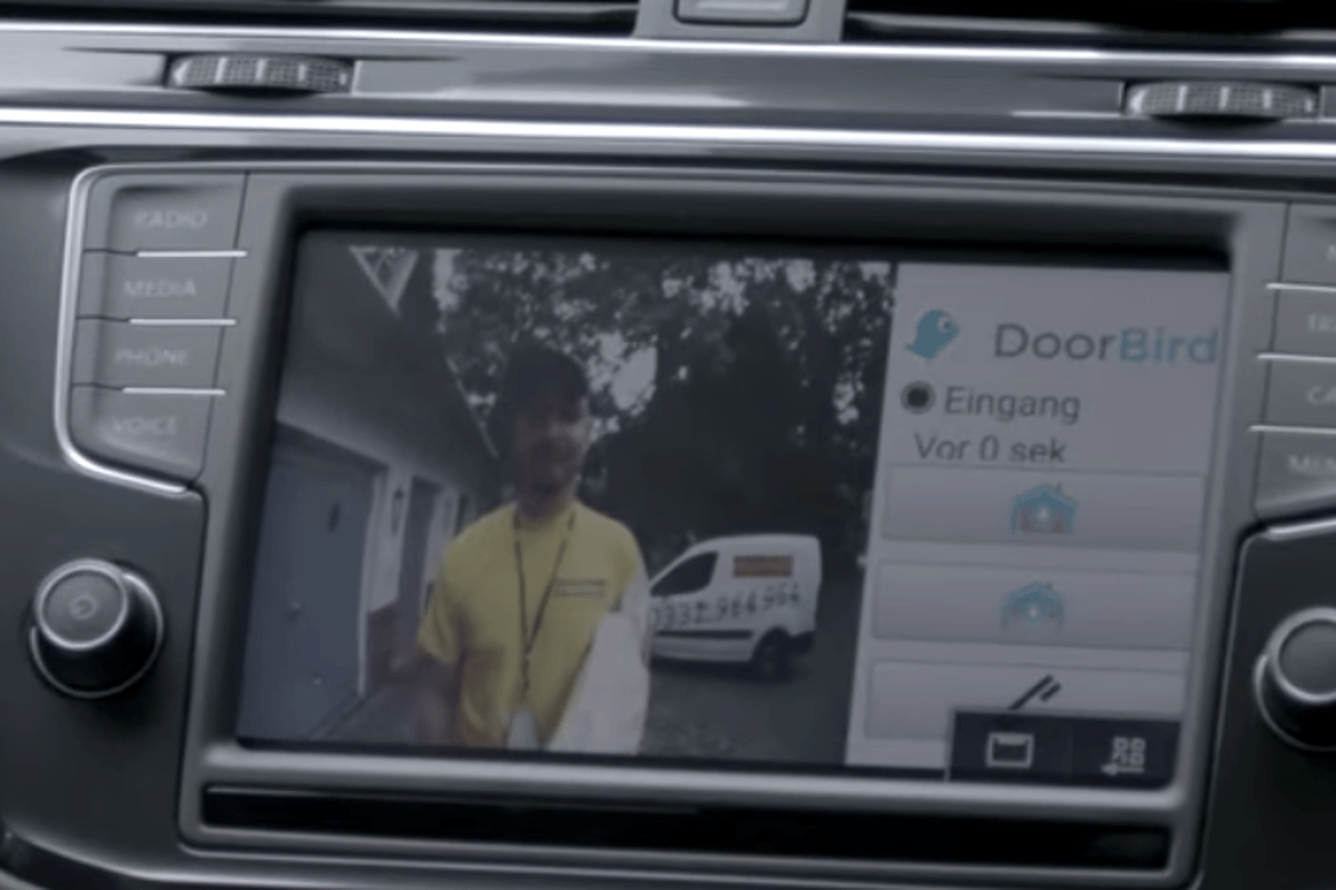 With aDoorBird doorbell installed at the house, VW drivers will now be able to see who is calling via the vehicle's infotainment system
