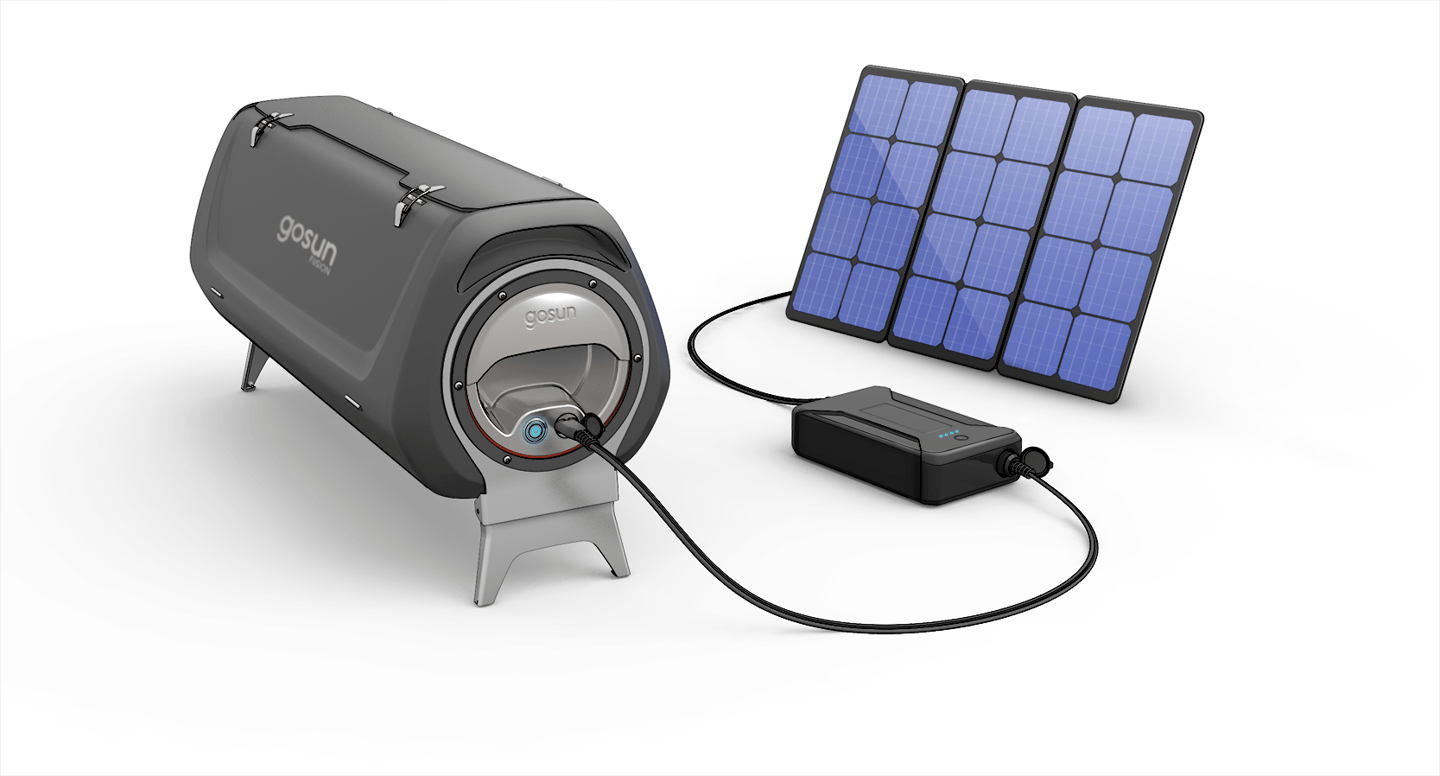 To keep the GoSun Fusion as off-grid as possible, the company has an optional powerbank and solar panel setup