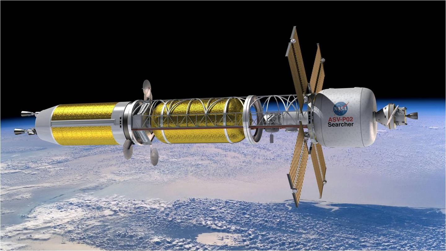 Artist's concept of a spacecraft with nuclear thermal propulsion
