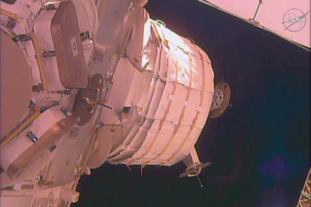The still unexpanded BEAM module attached to the ISS