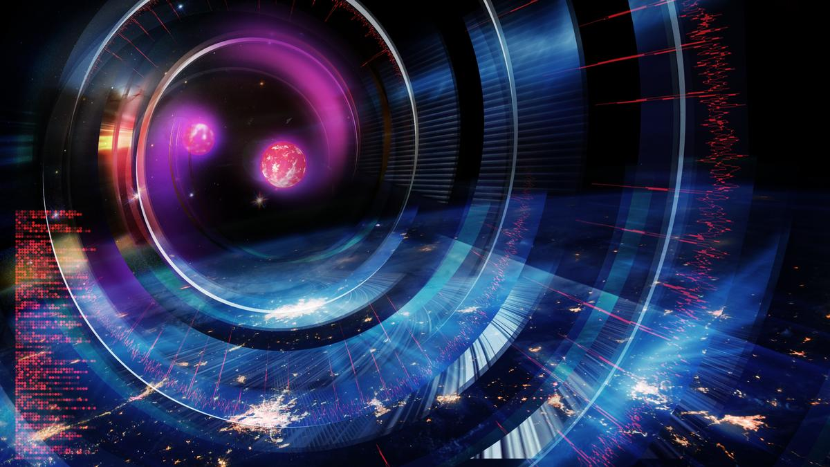 An artist's impression of two neutron stars on a collision course – a cataclysm that produces gravitational waves