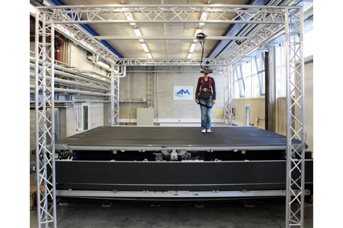 The CyberWalk omni-directional treadmill is like a conveyor belt of conveyor belts