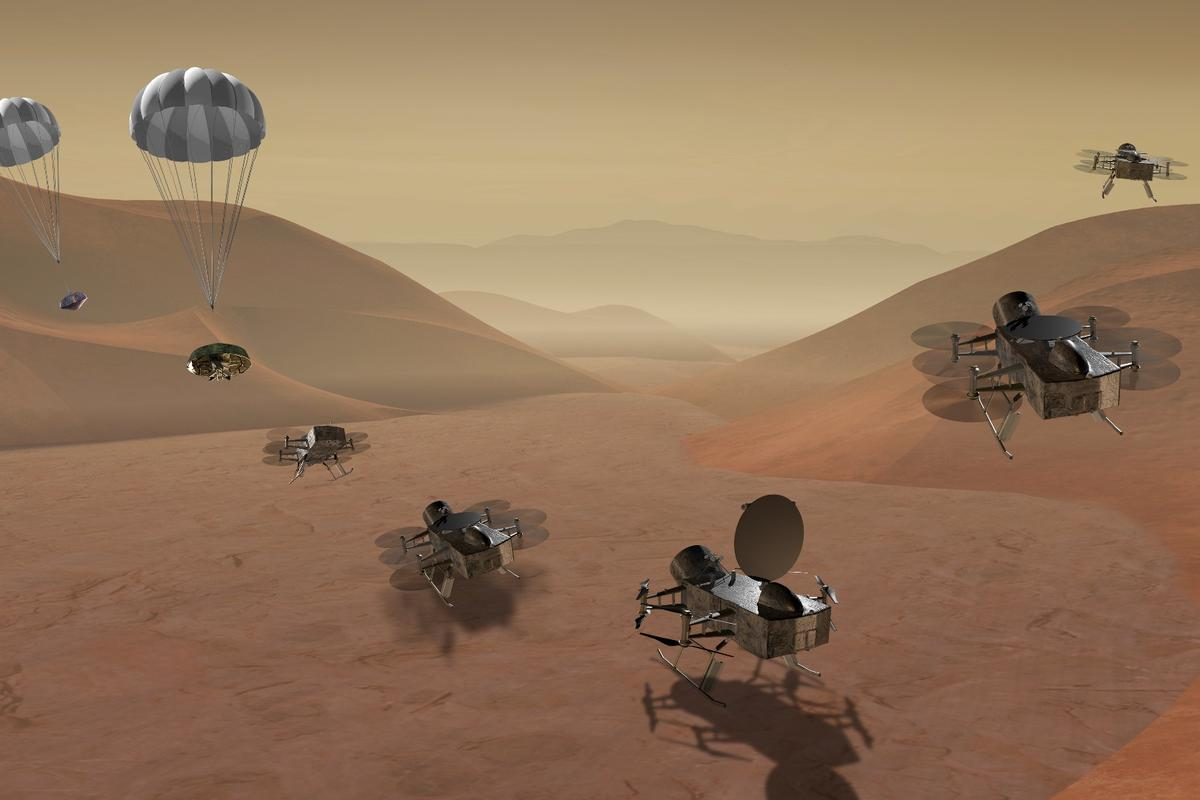 Dragonfly is a dual-quadcopter lander that would take advantage of the environment on Titan to fly to multiple locations