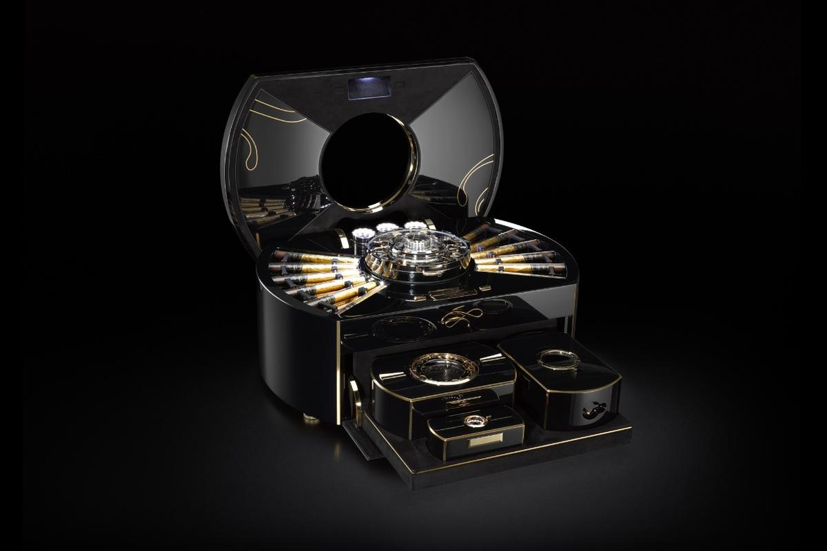 The Emperador is a high-tech cigar chest that acts as both safe and climate control unit