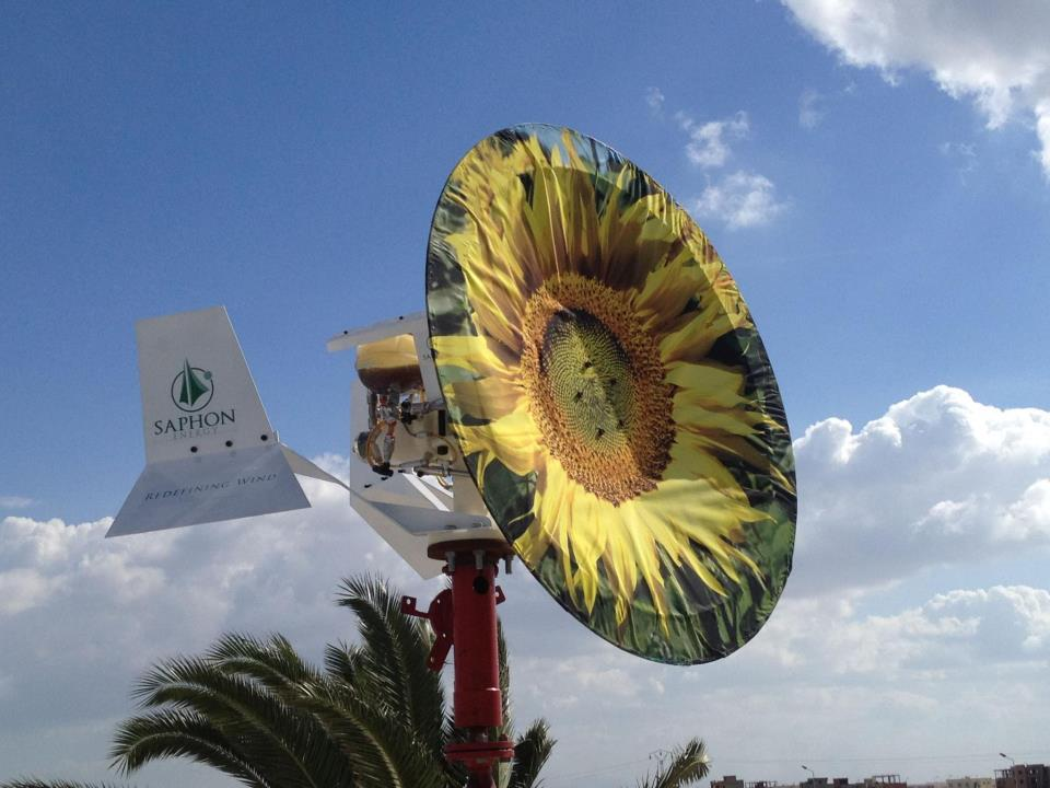 "The Saphonian turbine implements a patented system called ""Zero-Blade Technology"" in order to harness the wind's energy"