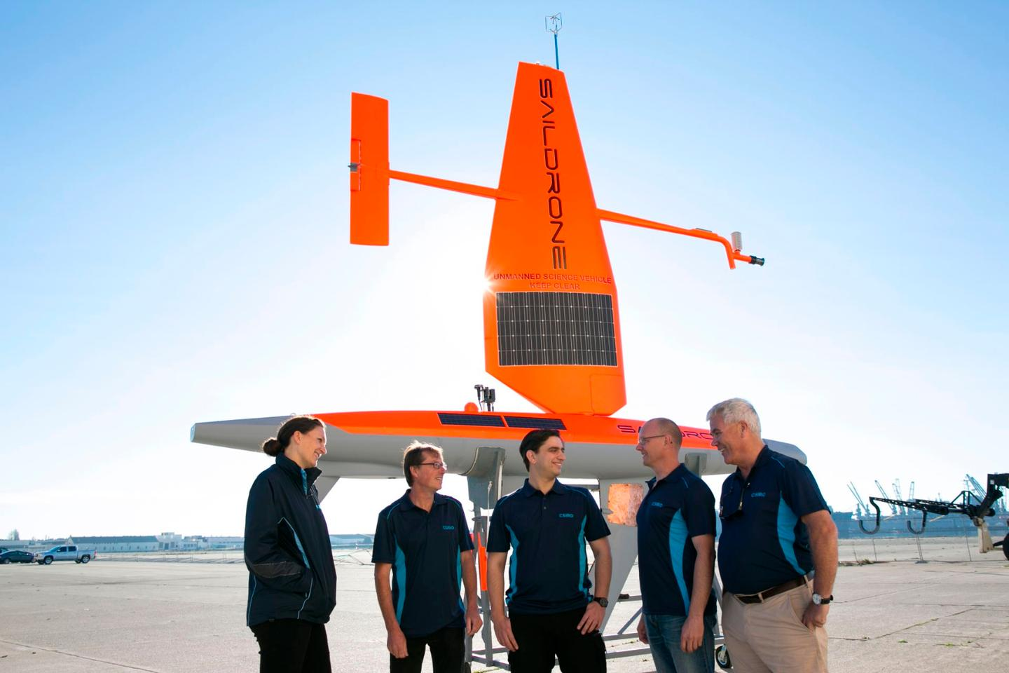 CSIRO team members with a Saildrone