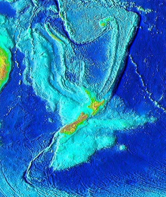 Topography of Zealandia in light blue, with the islands of New Zealand in the center in yellow
