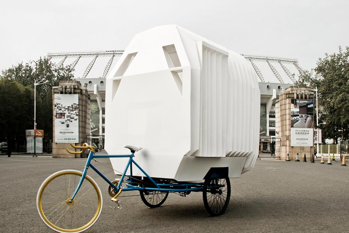 The Tricycle House opens like an accordion to offer more space