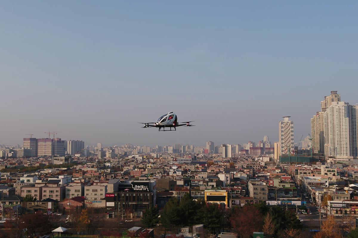 The EHang 216 above Daegu City in the Suseong District, on a mission to deliver emergency response equipment