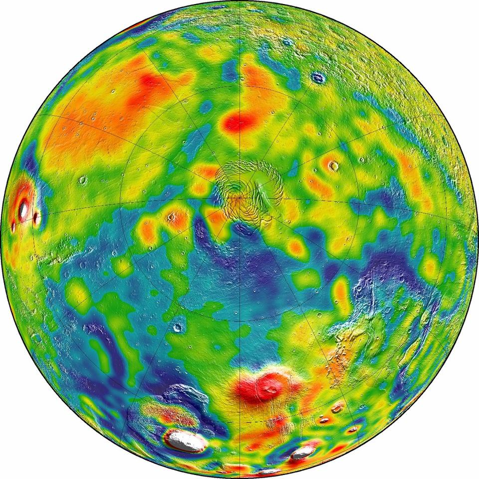 Gravity map of mars from the perspective of the Red Planet's northern polar region – red and white regions indicate high gravity areas, while blue represents low gravity areas