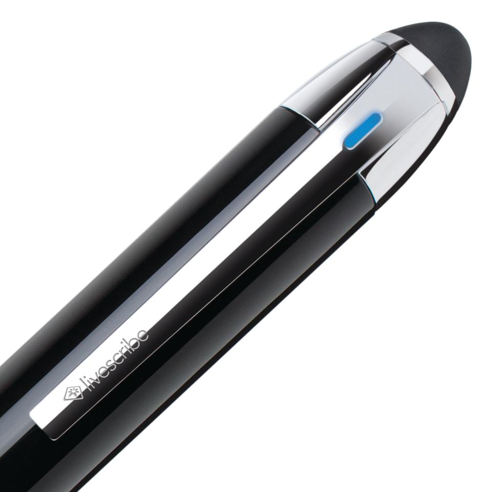 The Livescribe 3 pen features a capacitive stylus cap for touchscreen interaction