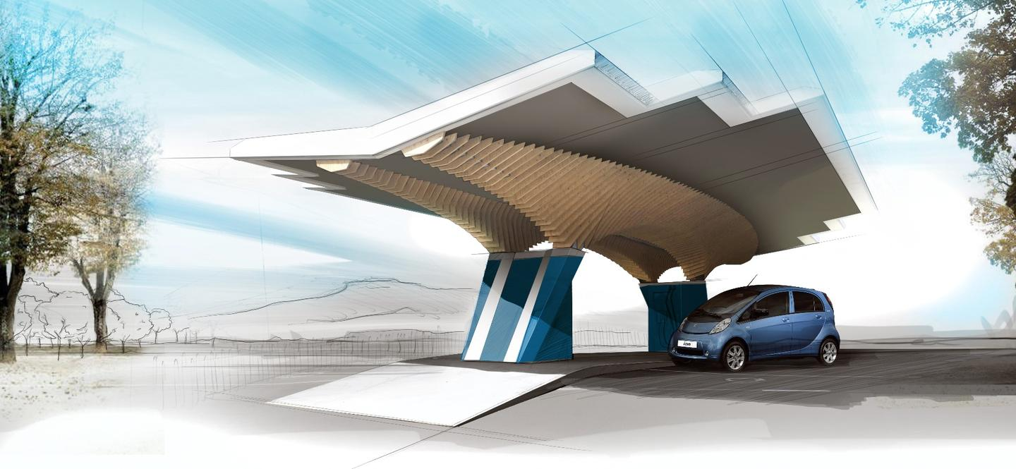 The Parasol has been designed with sustainable materials, and has solar panels on the roof