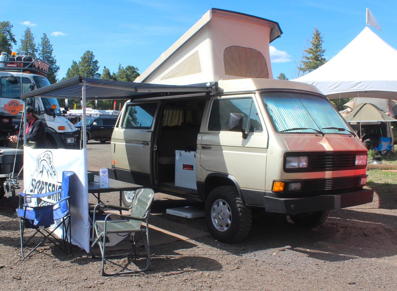 This cool VW Vanagon pop-top wasn't even the star of the SportsRig booth