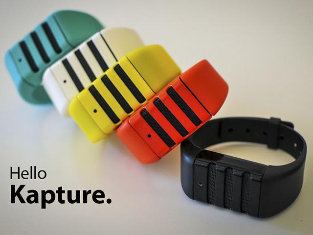 Kapture is a wrist-worn recording device that constantly captures the last 60 seconds of conversation