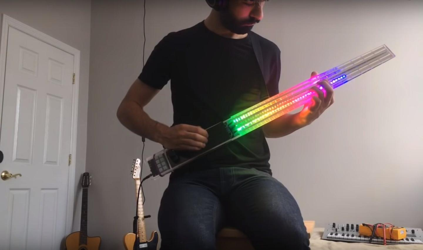The FM Synth Bass has 120 addressable LEDs embedded in the neck