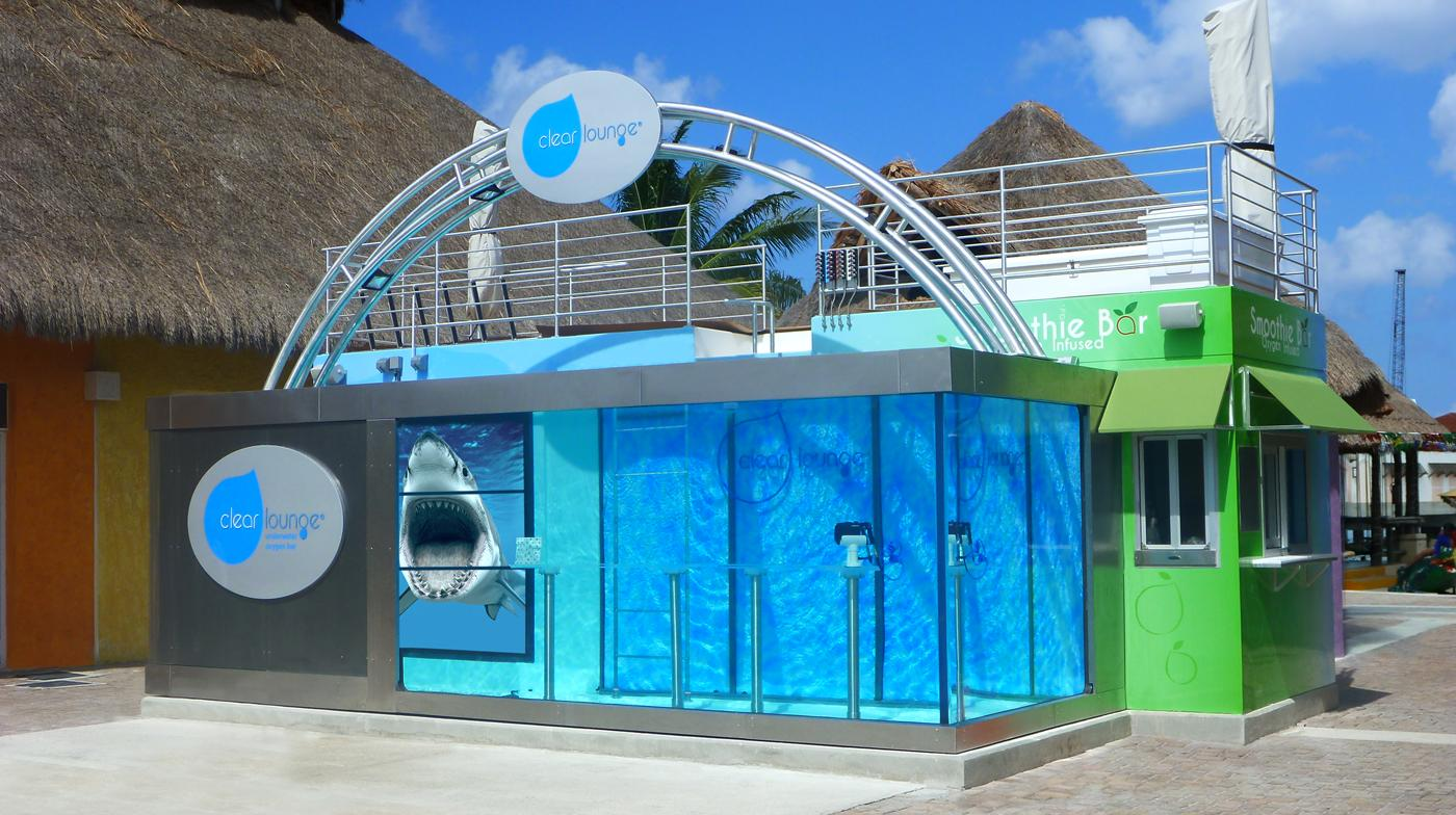 Visitors to the Clear Lounge bar can walk around on the bottom of a 13,000-gal (59,100-l) tank of water