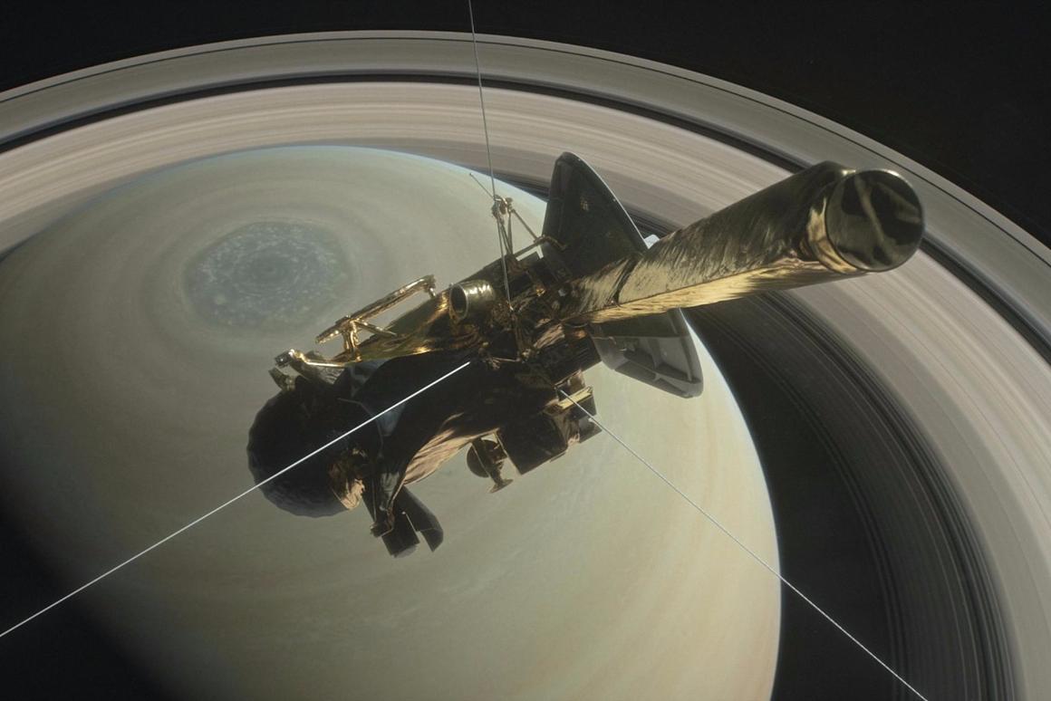 Render of Cassini in orbit around Saturn
