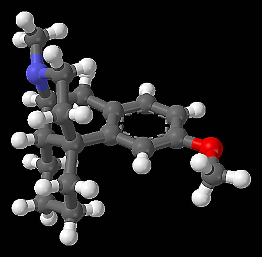 Ball and stick model of dextromethorphan - gray are carbon atoms, white are hydrogen, blue is nitrogen, and red is oxygen
