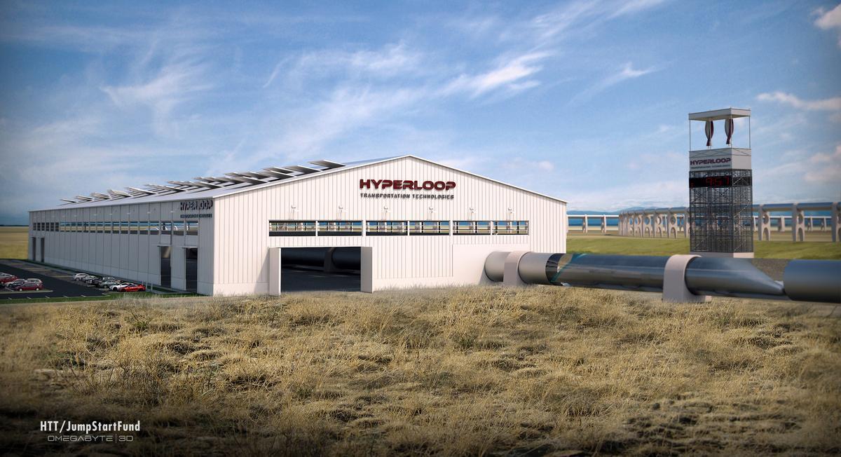 Concept rendering of a Hyperloop station at Quay Valley (Image: Hyperloop Transportation Technologies)