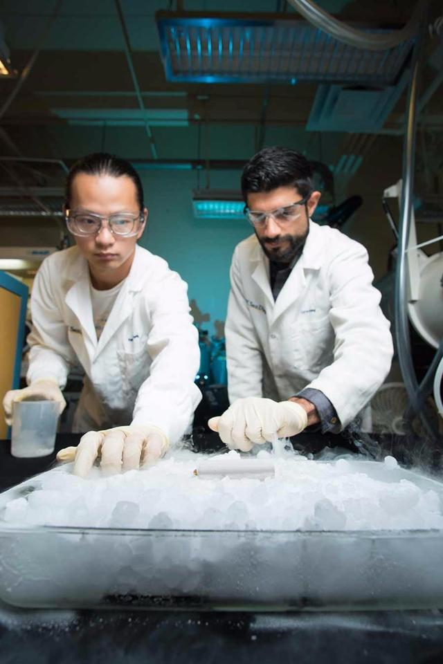 UCSan Diego researchersYangyuchen Yang (left) and Cyrus Rustomji