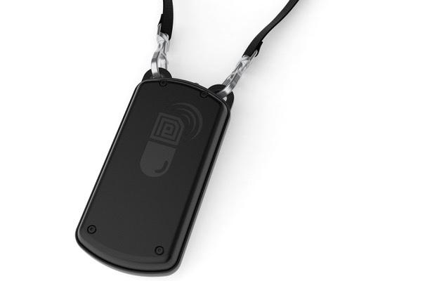 The ID-Cap Reader device is worn against the chest, on a lanyard