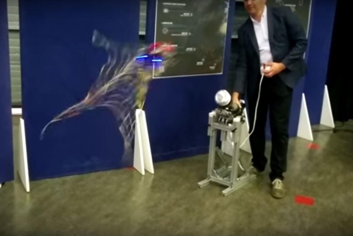 The net gun was demonstrated using a drone as a target