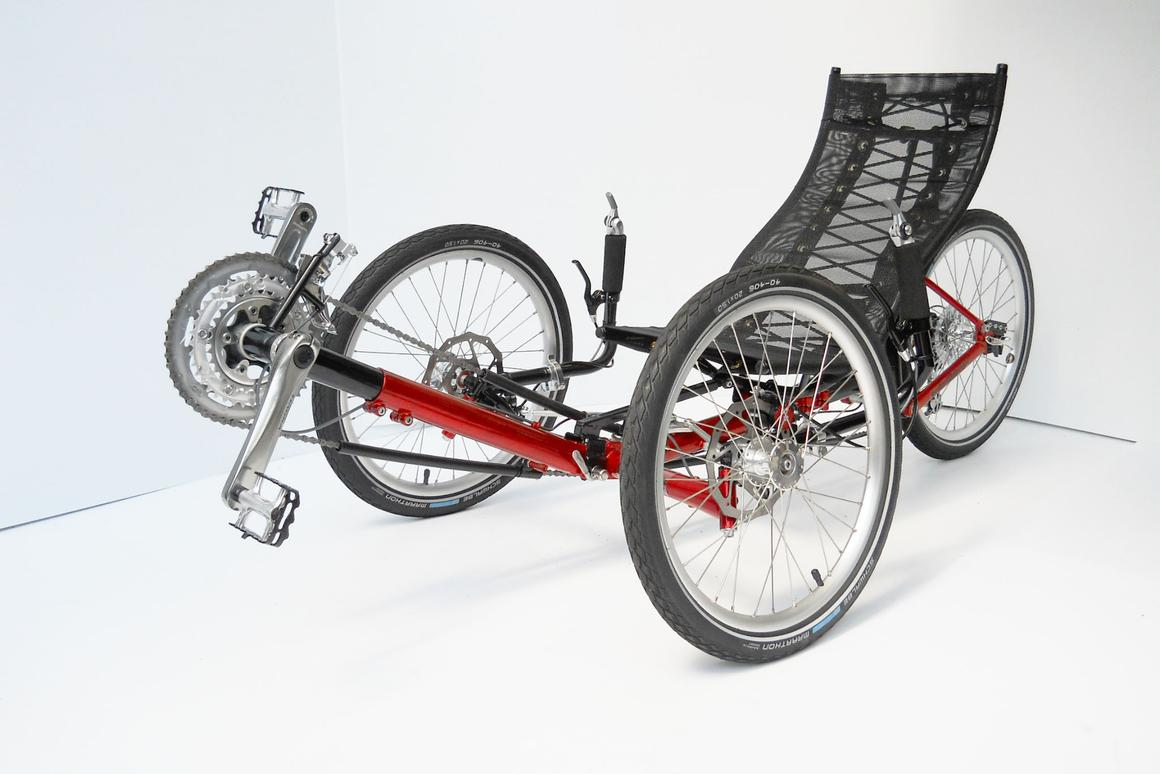 The Evolve recumbent trike reportedly folds up very small, very fast