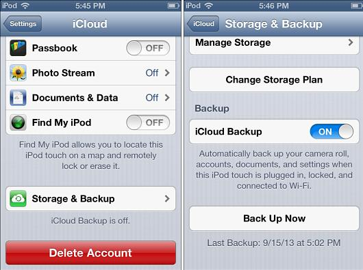 Back up your iOS 6 device to iCloud