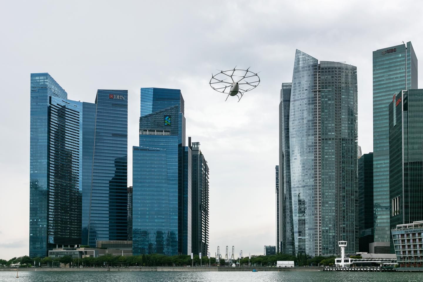 The Volcopter air taxi in action over Singapore last year
