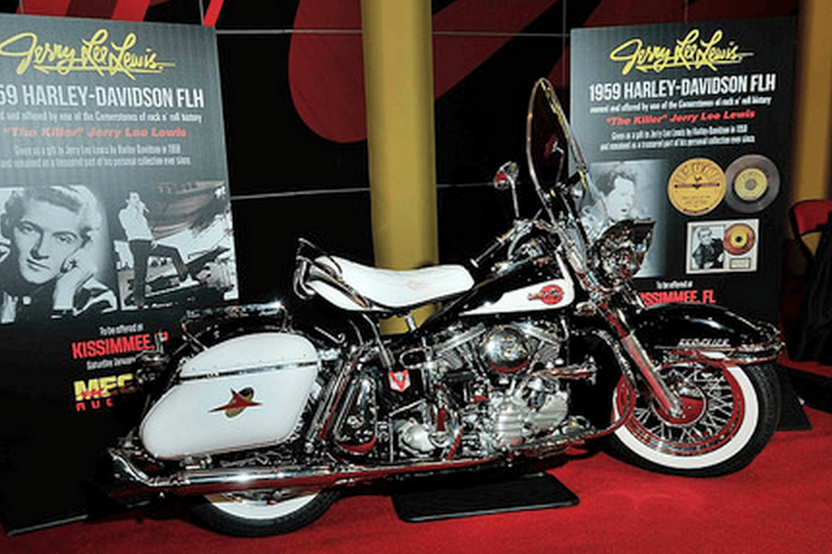 """Owned since new by rock & roll's original and most notorious """"bad boy"""", this 1959 Harley-Davidson FLH Panhead became the second-most valuable Harley ever sold. It fetched more than one of the original 1907 """"strap tank singles"""", the original 1911 v-twins, more than Cal Rayborn's XRTT and more than even the Pope's Harley."""