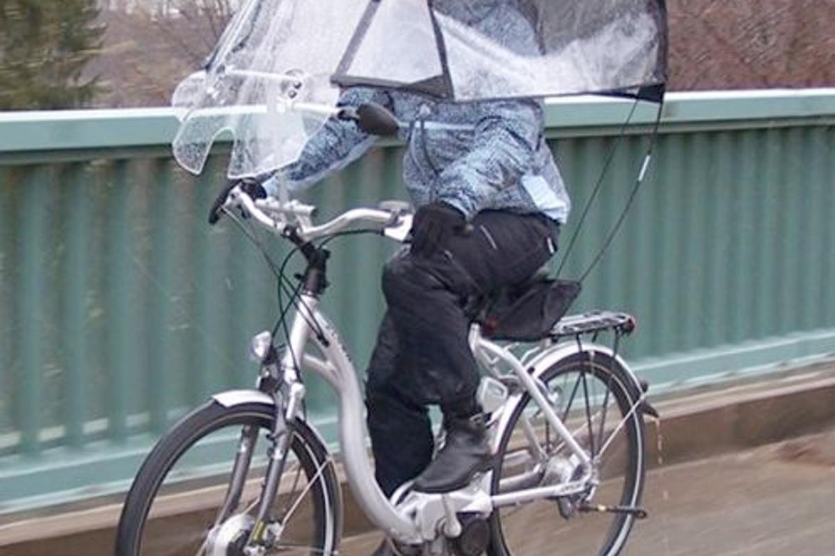 The Veltop is a removable windscreen/canopy/side window system, for protecting cyclists from rain and cold winds