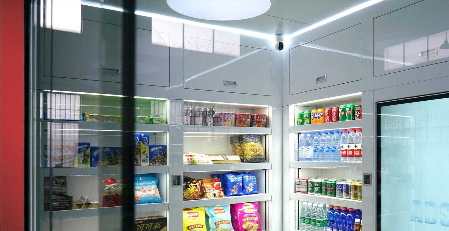Smart shelving inside the Psi retail pod will keep track of inventory, which can be viewed online by the store operator
