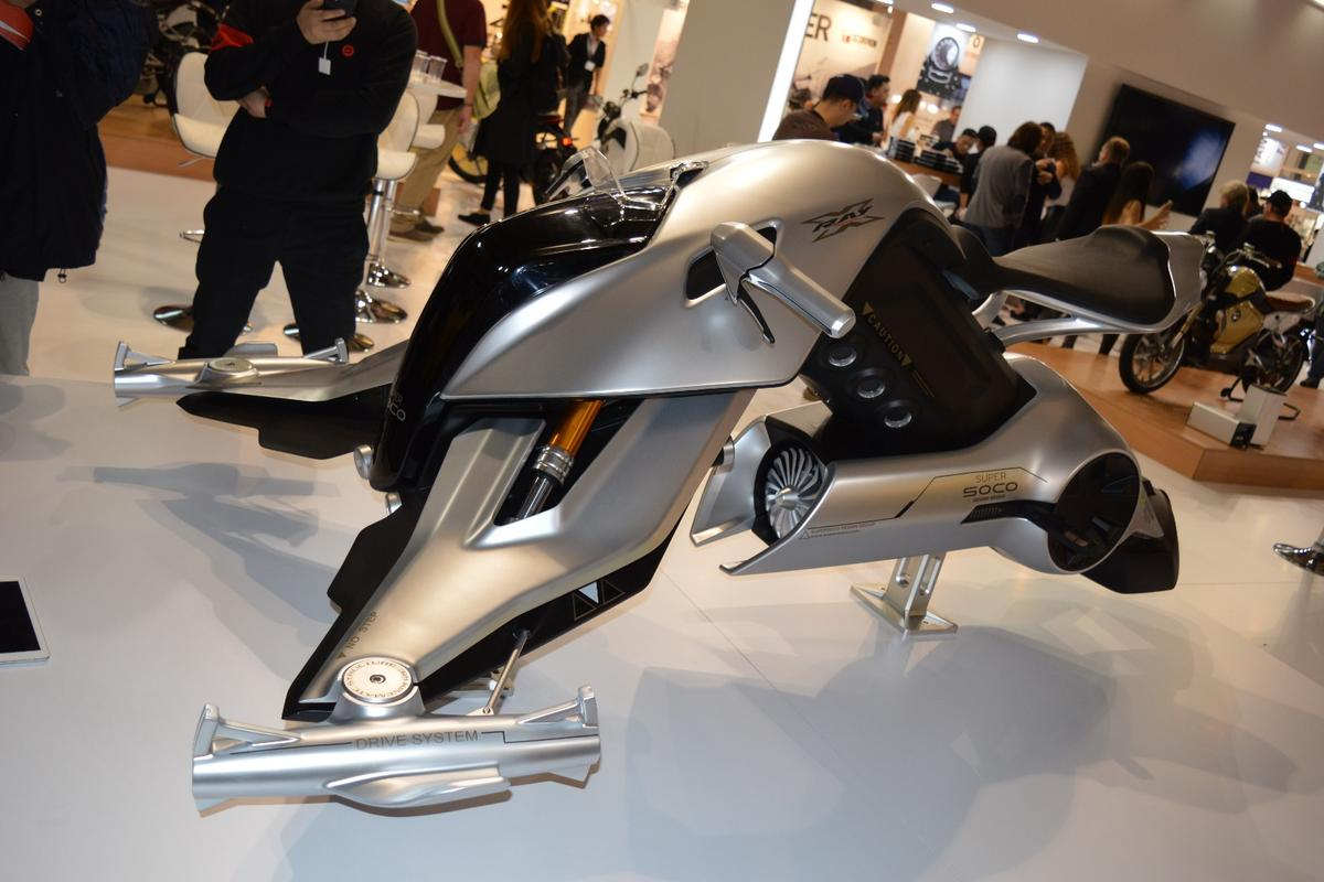The X-Ray flying pod is how the Super Soco design group envisages the future of motorcycles