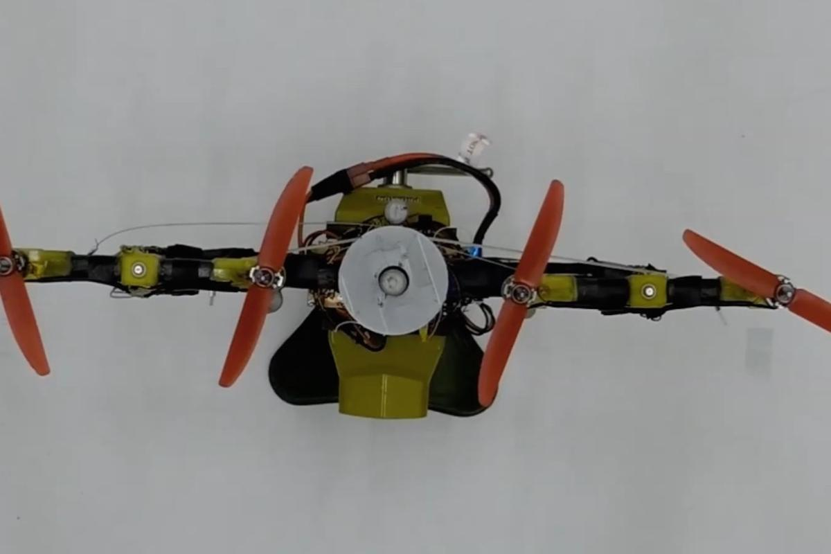 "A top view of the Quad-Morphing drone in ""gap mode"""