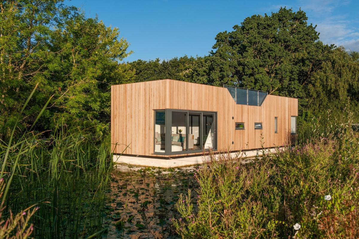 The Chichester floating home is berthed on the UK's Chichester Canal, hence the name