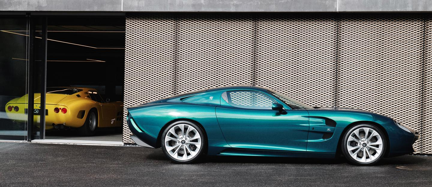 An original Iso Grifo A3/C peeks out of the background as Zagato photographs its GTZ