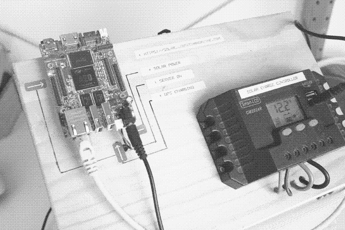 Low-tech Magazines new solar-powered server, shown here in a storagespace-saving dithered image