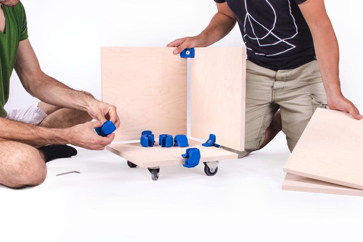 PlayWood connectors are designed to slot onto boards of any material type and hold them together without causing damage