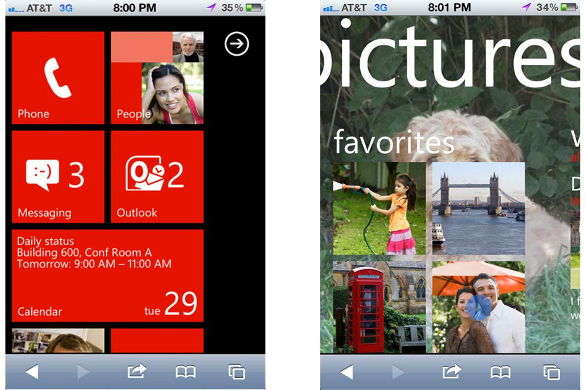 The demo lets iPhone and Android users test the Windows Phone 7 on their handsets