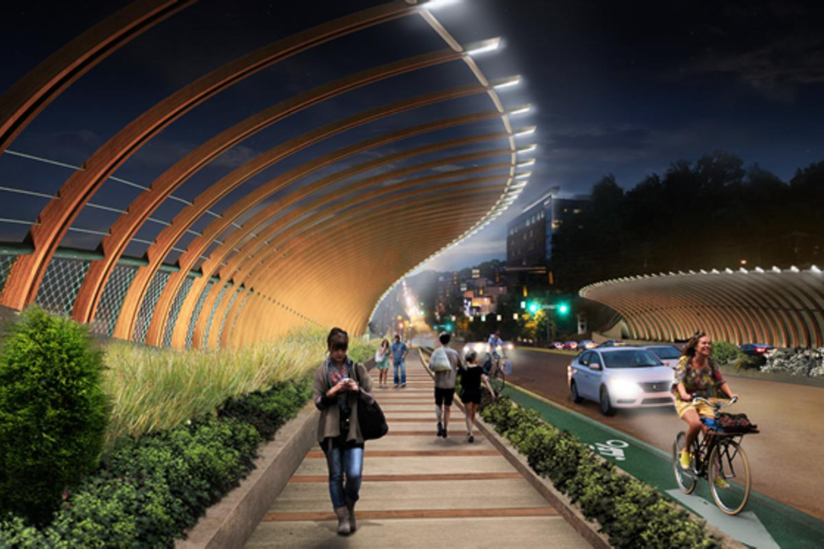 The curved steel ribs of design B for the 10th Street Bridge provide protection for pedestrians