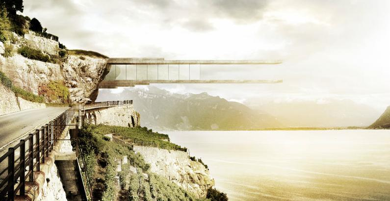 Mauro Turin's bold concept would see a clifftop wine museum overhang the stepped vineyards on the shores of Lake Geneva (Image: Mauro Turin Architectes)